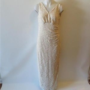 RALPH LAUREN CREAM LACE/SEQUIN EVENING GOWN 14